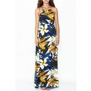 NWOT Blue white yellow maxi dress size small